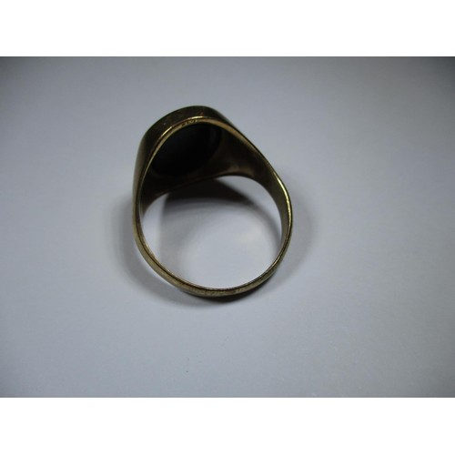 1 - A 9ct gold signet ring with jet panel, approx. weight 6.8g