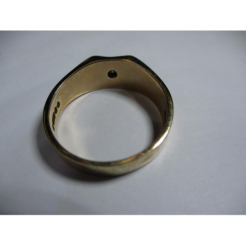2 - A 9ct gold signet ring with a single diamond, approx. weight 7.9g approx.