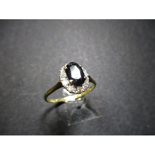 3 - An early 20th century 18ct gold diamond and sapphire cocktail ring, approx ring size U