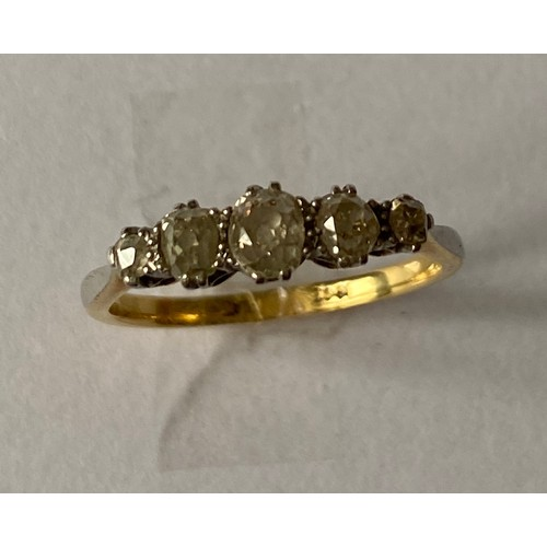 6 - An early 20th century 18ct gold and platinum 5 stone diamond ring, approx. size O