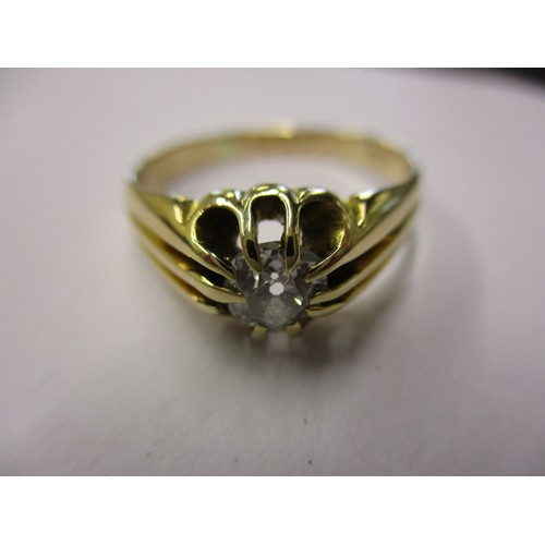 7 - An 18ct yellow gold diamond solitaire ring, the stone measuring approx. 5.7mm
