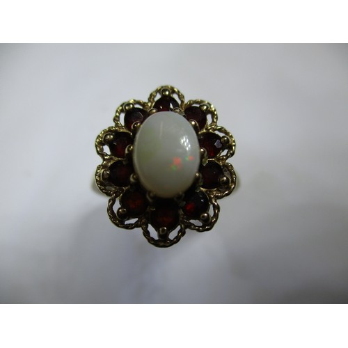 40 - A 9ct yellow gold ring set with a central opal surrounded by garnets, approx. ring size O