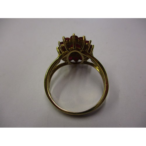 46 - A 9ct gold dress ring with diamonds, approx. ring size Q