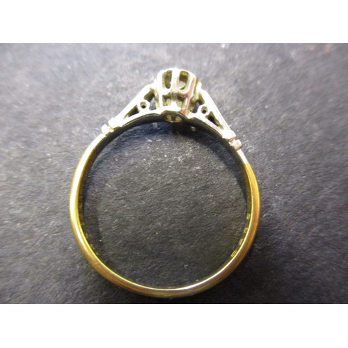 48 - A vintage 18ct yellow gold and platinum solitaire diamond ring, approx. ring size N