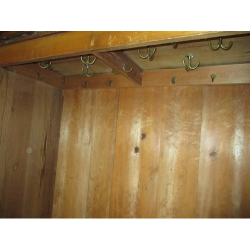 391 - An antique pine/fruitwood double wardrobe with 2 drawer base