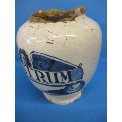 153 - Two 17th century? English Dutch Delft? drug jars...