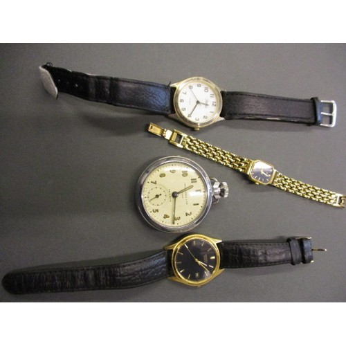 4 watches to include a pocket watch by Ingersoll which is currently running, the others not tested for function, in pre-owned condition with general age-related marks