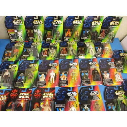 Various 1990's Star Wars figures in original hanging blister packs, all un-opened and in good condition, 27 in total