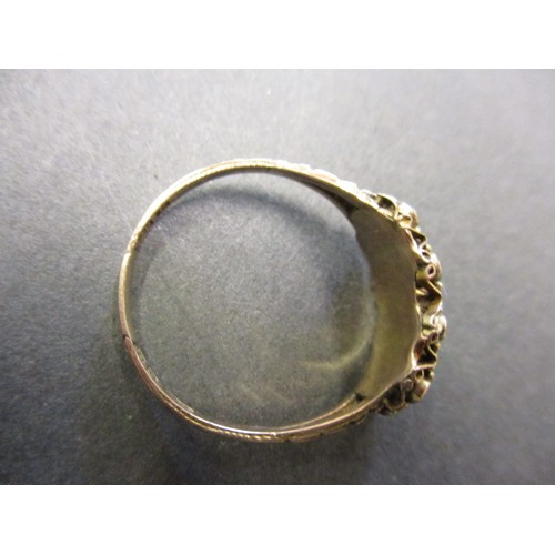 1 - A Victorian 9ct yellow gold garnet and pearl ring, approx. ring size O ½ in good condition but showi...