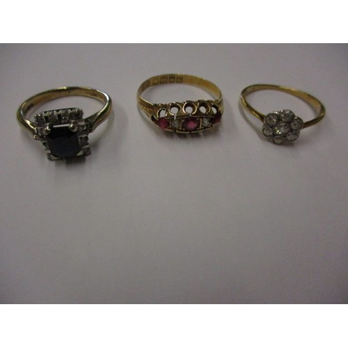 37 - An 18ct yellow gold dress ring, two 9ct rings and one other, approx. parcel weight 8.1g all in pre-o...