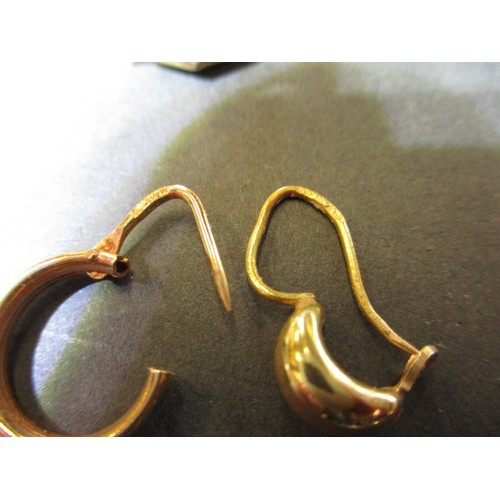 45 - 4 Pairs of gold earrings purchased in Saudi Arabian, approx. 40 years old, one has a broken clasp, a...