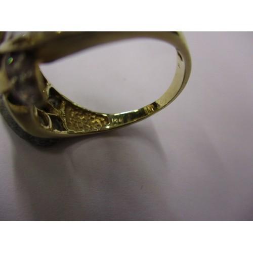 6 - A yellow gold dress ring marked 14k set with various cut stones, approx. ring size O, approx. weight...