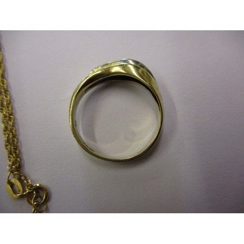 39 - A 9ct yellow gold and diamond ring and a 9ct gold necklace, both in good pre-owned condition, approx...