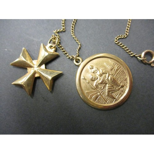48 - A 9ct yellow gold necklace with a 9ct St Christopher pendant and a 9ct gold Maltese cross pendant, a...