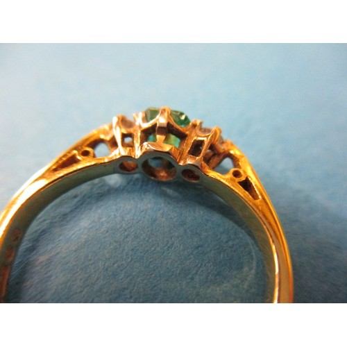 8 - A vintage 18ct gold, diamond and emerald ring, approx. ring size 'J1/2' approx. weight 2.8g, the eme...