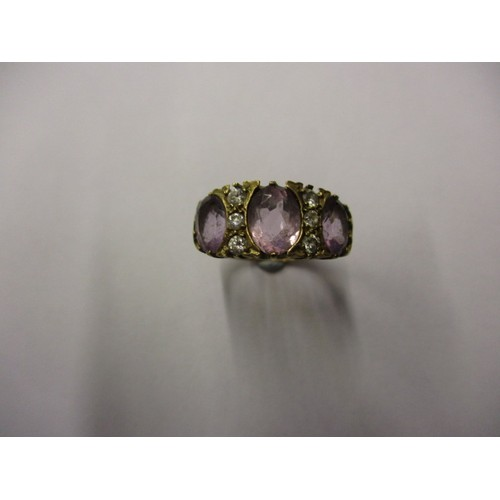 10 - A vintage 9ct gold dress ring, set with various stones, approx. ring size 'O' approx. weight 4.4g, i...