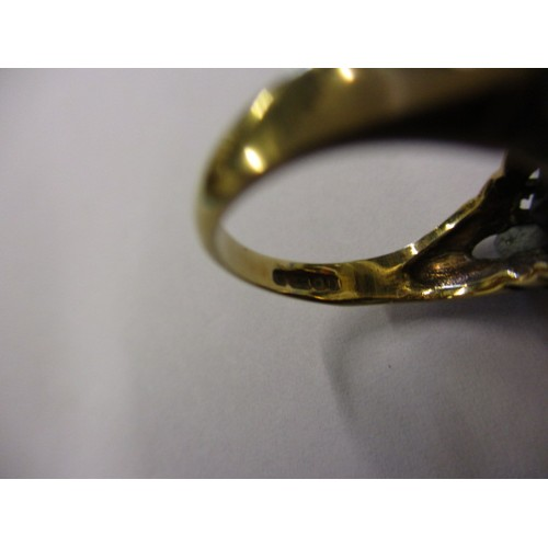 13 - A vintage 9ct yellow gold ring, set with 3 garnets, approx. ring size 'L' approx. weight 3.4g, in go...