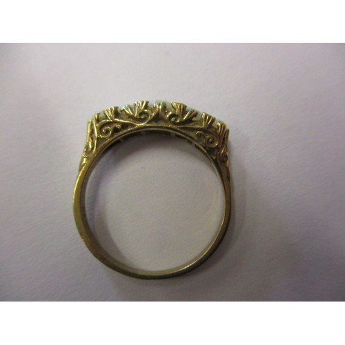 14 - A vintage 9ct yellow gold, 5 stone opal ring, approx. ring size 'N' approx. weight 2.3g in good pre-...