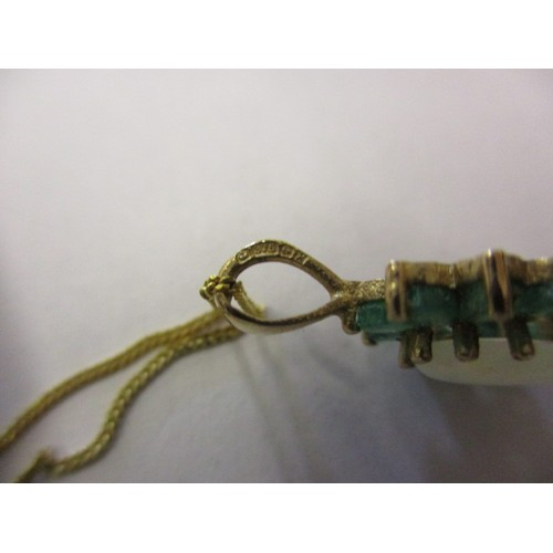 50 - A 9ct gold necklace with opal and emerald? Pendant and matching earrings, approx. linear length of c...