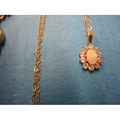 51 - Three 9ct gold necklace and a 9ct gold ring, approx. parcel weight 9g, in good pre-owned condition w...