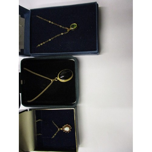 52 - 3 vintage gold necklaces, each with a pendant, approx. parcel weight 7.6g in good pre-owned conditio...