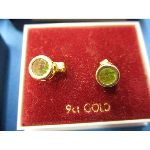 54 - Six pairs of gold earrings, with various stones, in good pre-owned condition with general age relate...