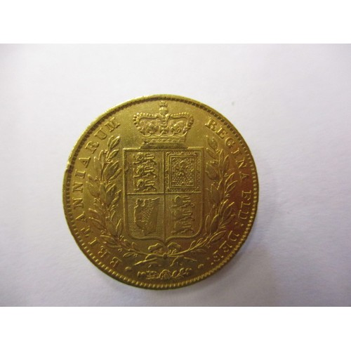 An 1847 Victorian shield back full gold sovereign, in a reasonable grade with general age related marks