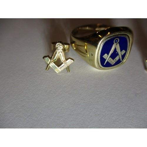 15 - A Masonic 9ct gold signet ring with enamel motif and a pair of masonic earrings, approx. weight 7.3g...