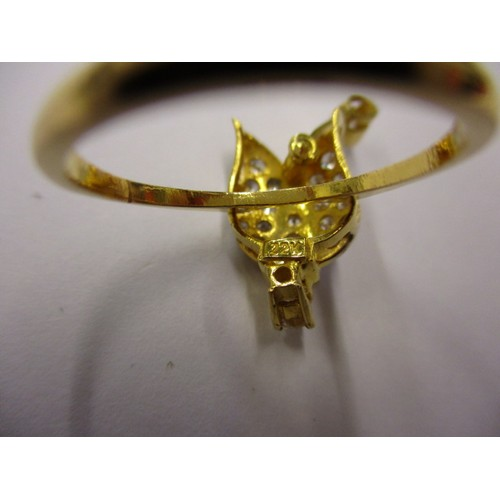 18 - A yellow gold ring marked 22k set with CZ stones, approx. ring size, in good pre-owned condition
