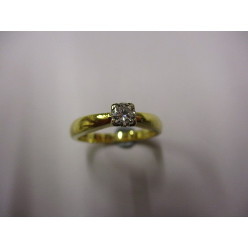 22 - An 18ct yellow gold diamond solitaire ring, approx. ring size 'L', approx. weight 3.8g in good pre-o...