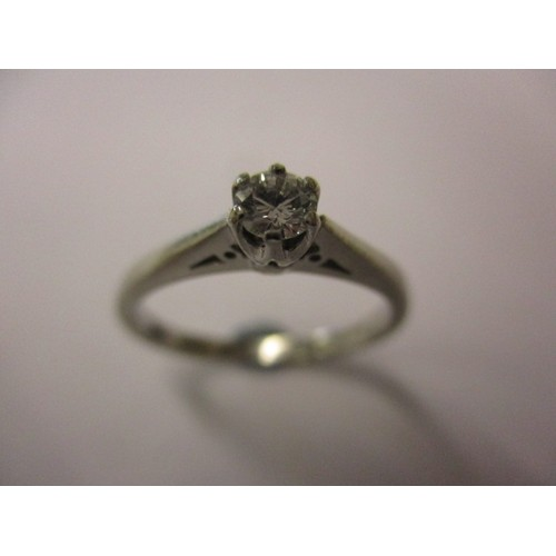 24 - An 850 platinum diamond solitaire ring, approx. ring size 'M' approx. weight 3.5g in good pre-owned ...