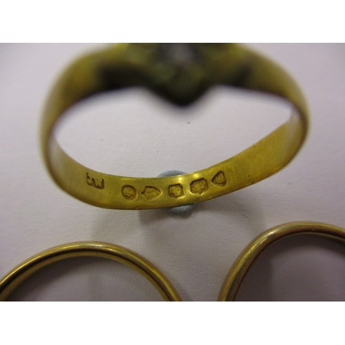 41 - 3 x 22ct gold rings, approx. weight 8.1g, one being a mid-19th century example set with a small diam...