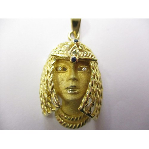 58 - A 585 yellow gold pendant in the form of an Egyptian head, approx. weight 12.1g in good pre-owned co...