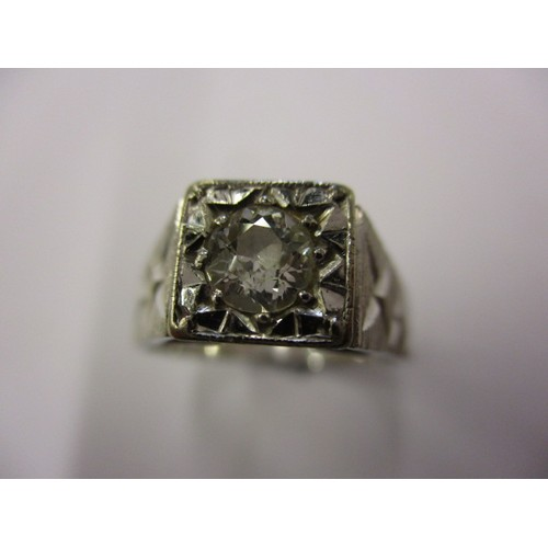 30 - An 18ct white gold diamond solitaire ring, the stone measuring approx. 4.4mm, approx. ring size 'R' ...