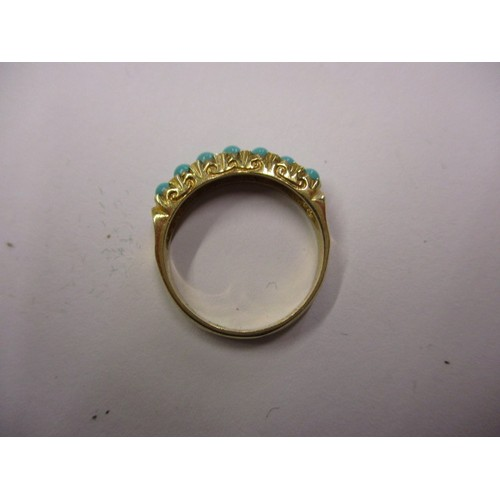 31 - A 9ct yellow gold ring set with 7 turquoise stones, approx. ring size 'N' approx. weight 2.9g also i...