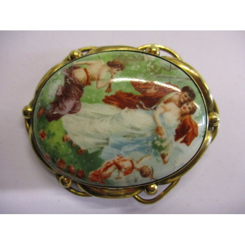 A late 19th early 20th century hand painted porcelain plaque brooch with yellow metal mount, in pre-owned condition with general age-related marks, approx. size 5.5x4.5cm