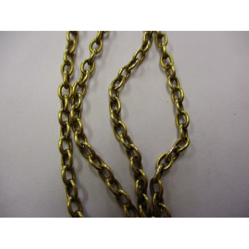 60 - A late 19th century 585 yellow gold necklace with hard stone pendant, approx. chain weight  27g in g...