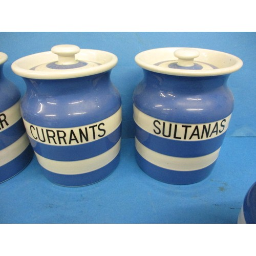 246 - A quantity of vintage T. G. Green Cornish-ware kitchen jars, all in good condition and with correct ...