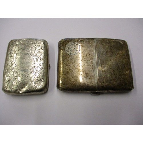 2 antique sterling silver cigarette cases, approx. weight 210g, in useable condition with tarnish and some shallow denting