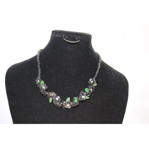 99 - Vintage Lucite Floral Bead Necklace...