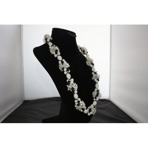 103 - Vintage West German Plastic Beaded Floral Necklace...
