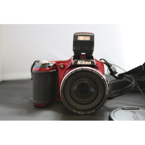 251 - Nikon Coolpix Camera Deep Red - L820 with Carry Case and Cable...
