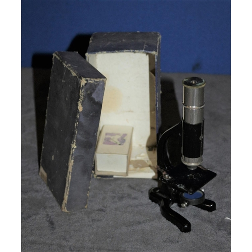 14 - Boxed Vintage Small  Microscope with Plates