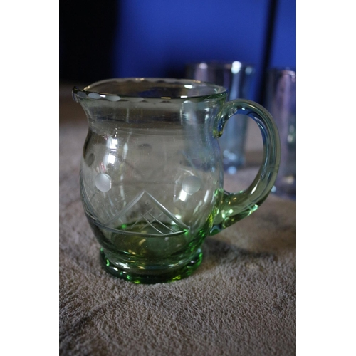 23 - Collection of Glassware to include 2 x Green Glass Pitcher Jugs