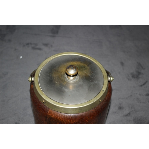27 - Vintage Wooden Barrell Ice Bucket with Brass Shield and Lid