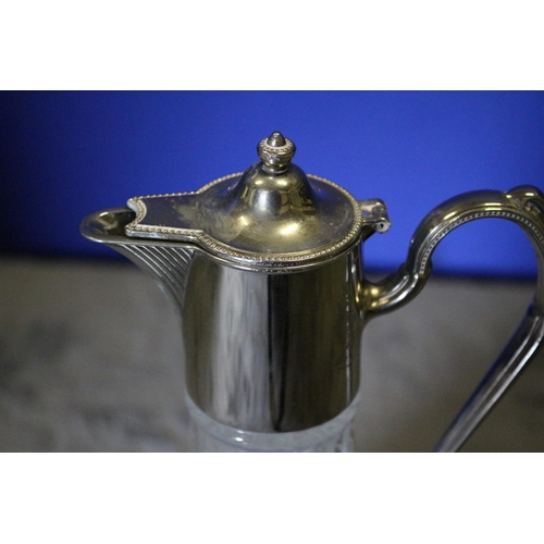 30 - Nice Decanter with Silver Plate Lid and Handle