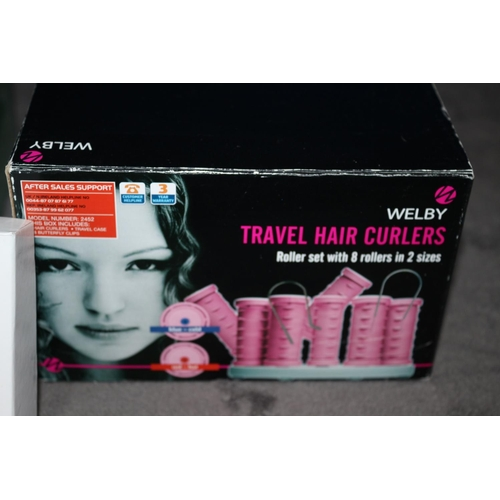32 - Various Items, HydroPro Jet Was, Earphones, LED/UV Nail Lamp plus Travel Hair Curlers