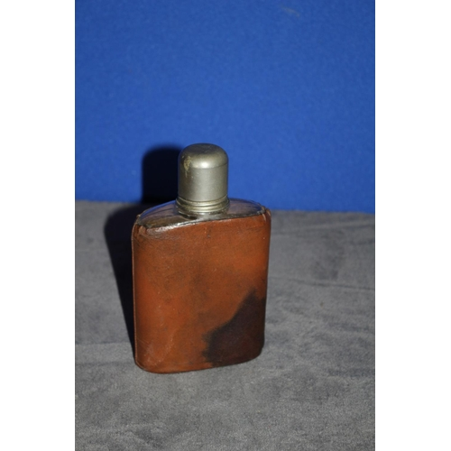 34 - Leather Covered Glass Hip Flask with Screw Lid/Cup
