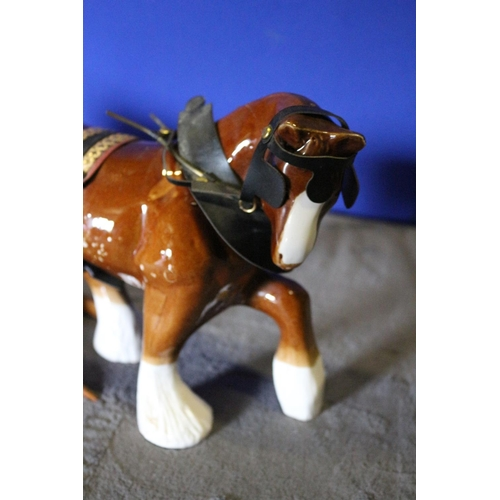 35 - Large China Ware Shire Horse and Tipping  Cart