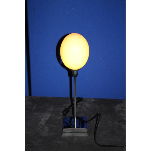 42 - Ostrich Egg Mounted on a Chromed Stem and Plinth Table Lamp, Fully Working and PAT Tested